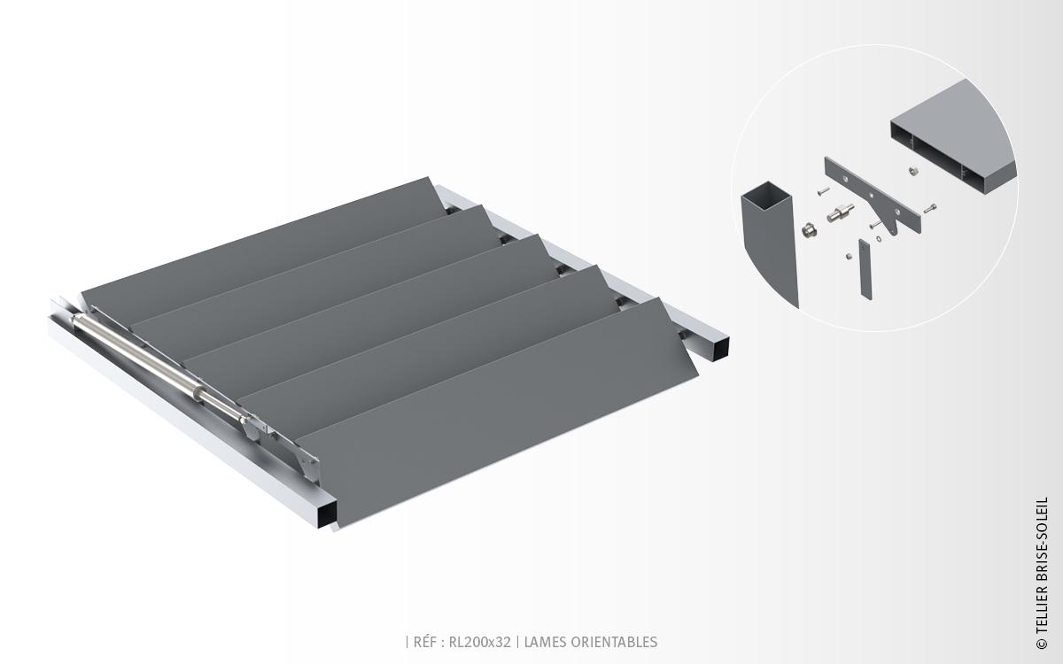 rl200x32 lames rectangulaires brise soleil orientable. Black Bedroom Furniture Sets. Home Design Ideas