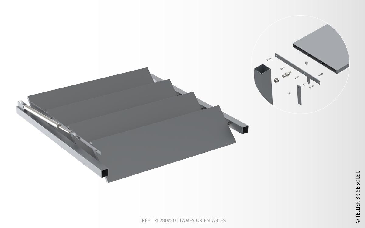 rl280x20 lames rectangulaires brise soleil orientable. Black Bedroom Furniture Sets. Home Design Ideas