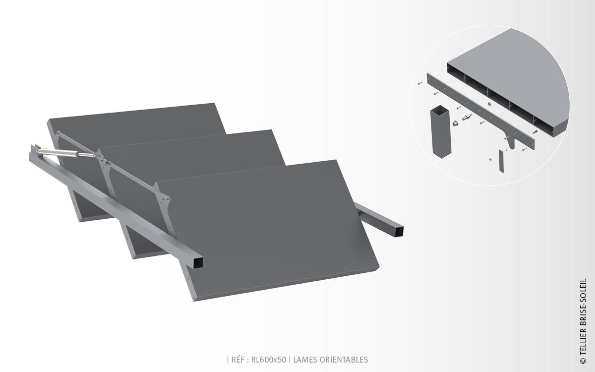 rl600x50 lames rectangulaires brise soleil orientable. Black Bedroom Furniture Sets. Home Design Ideas