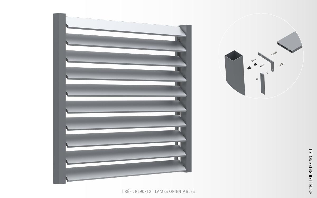 rl90x12 lames rectangulaires brise soleil orientable. Black Bedroom Furniture Sets. Home Design Ideas